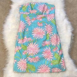 Lilly Pulitzer Mini Strapless Tie Back Dress 0
